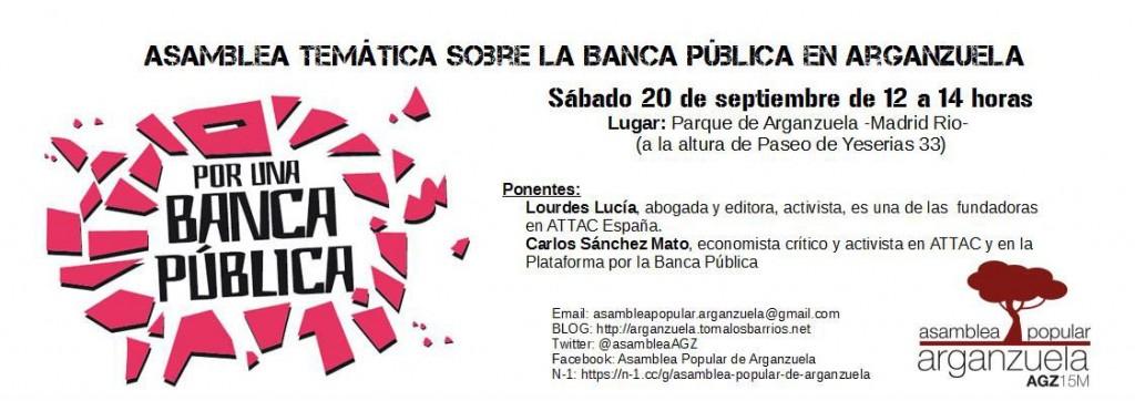 Asamblea Temática en la Asamblea de Arganzuela para el 20 de septiembre.